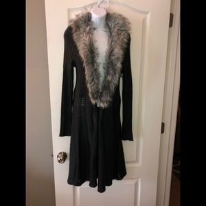 Sweater duster with fur trim, women's size L